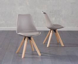 Olivier Square Leg Taupe Faux Leather Chairs (Pair)