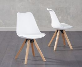 Olivier Square Leg White Faux Leather Chairs (Pair)