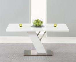 Portland 160cm White High Gloss Dining Table
