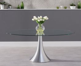 Pria 180cm Oval Glass Dining Table