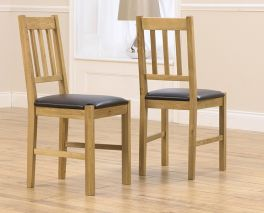 Promo Solid Oak Dining Chair With Brown Pu Seat (Pairs)