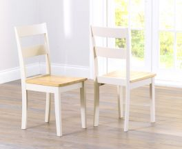 Chichester Solid Hardwood & Painted Dining Chairs (Pairs) - Oak & Cream