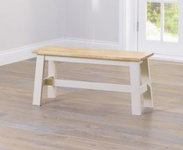 Chichester Solid Hardwood & Painted Small Bench - Oak & Cream
