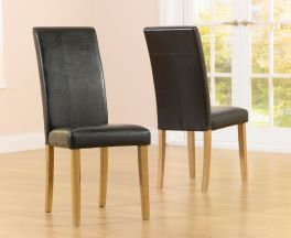 Atlanta Black Faux Leather And Solid Oak Dining Chairs (Pairs)