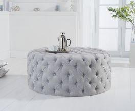 Montrose grey plush round footstool