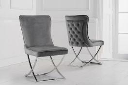 Gabriella grey velvet dining chair (pairs)