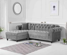 Barbican Left Facing Grey Velvet Chaise Sofa