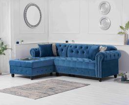Barbican Left Facing Blue Velvet Chaise Sofa