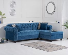 Barbican Right Facing Blue Velvet Chaise Sofa