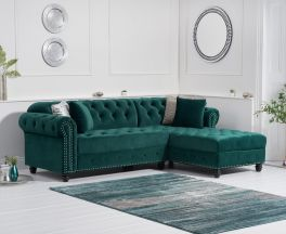 Barbican Right Facing Green Velvet Chaise Sofa