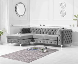 Brunel Left Facing Grey Velvet Sofa