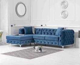Brunel Left Facing Blue Velvet Sofa