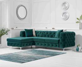 Brunel Left Facing Green Velvet Sofa