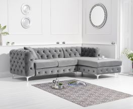 Brunel Right Facing Grey Velvet Sofa
