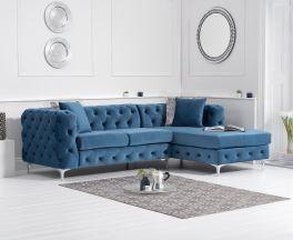 Brunel Right Facing Blue Velvet Sofa