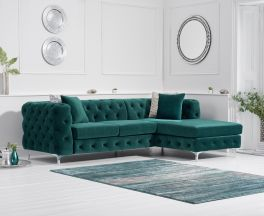 Brunel Right Facing Green Velvet Sofa