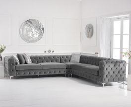 Brunel Grey Velvet Corner Sofa