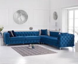 Brunel Blue Velvet Corner Sofa