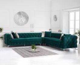 Brunel Green Velvet Corner Sofa