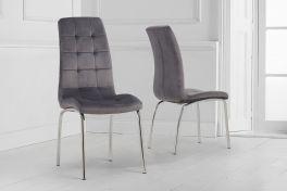 California grey velvet dining chair (pairs)