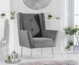 Brooklyn Grey Velvet Accent Chair