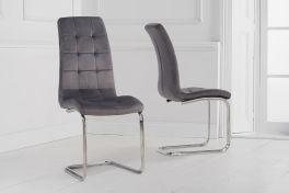 Lucy hoop leg grey velvet dining chair (pairs)