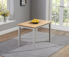 Chichester Solid Hardwood & Painted 115cm Dining Table - Oak & Grey