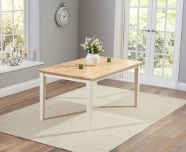 """Chichester Solid Hardwood & Painted 150cm Dining Table €"""" Oak & Cream"""