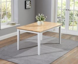 """Chichester Solid Hardwood & Painted 150cm Dining Table €"""" Oak & White"""