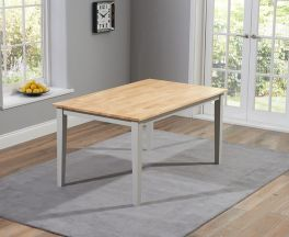"""Chichester Solid Hardwood & Painted 150cm Dining Table €"""" Oak & Grey"""