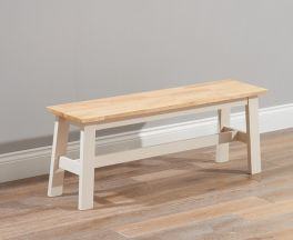 Chichester Solid Hardwood & Painted Large Bench - Oak & Cream