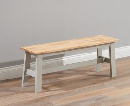 Chichester Solid Hardwood & Painted Large Bench - Oak & Grey