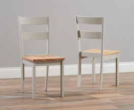 Chichester Solid Hardwood & Painted Dining Chairs (Pairs) - Oak & Grey