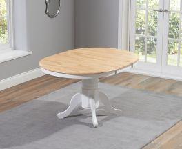 Elstree Solid Hardwood & Painted 100cm Extending Dining Table (Oak & White)