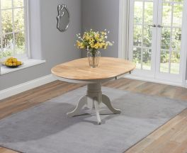 Elstree Solid Hardwood & Painted 100cm Extending Dining Table (Oak & Grey)