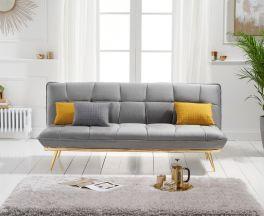 Yasmina Grey Velvet 3 Seater Fold Down Sofa Bed With Gold Legs