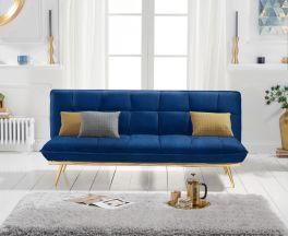 Yasmina Blue Velvet 3 Seater Fold Down Sofa Bed with Gold Legs