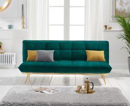 Yasmina Green Velvet 3 Seater Fold Down Sofa Bed with Gold Legs