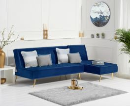 Breva Blue Velvet 3 Seater Chaise Corner Sofa Bed with Gold Legs
