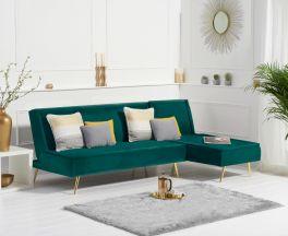 Breva Green Velvet 3 Seater Chaise Corner Sofa Bed with Gold Legs