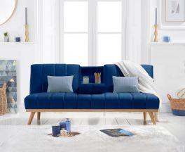 Saffron Blue Velvet 3 Seater Fold Down Sofa Bed