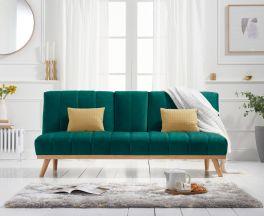 Saffron Green Velvet 3 Seater Fold Down Sofa Bed