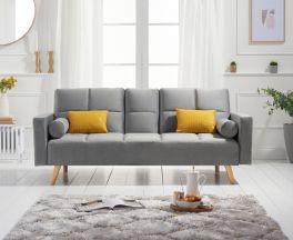 Erica Grey Velvet 3 Seater Fold Down Sofa Bed