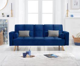 Erica Blue Velvet 3 Seater Fold Down Sofa Bed