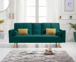Erica Green Velvet 3 Seater Fold Down Sofa Bed