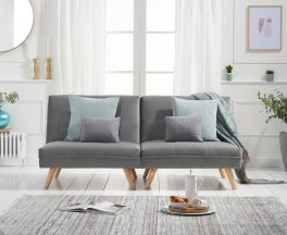 Izzy Grey Velvet 3 Seater Fold Down Sofa Bed