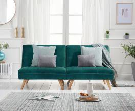 Izzy Green Velvet 3 Seater Fold Down Sofa Bed