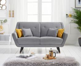 Laura 2 Seater Sofa in Grey Velvet
