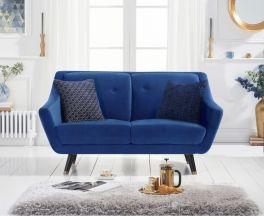 Laura 2 Seater Sofa in Blue Velvet