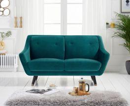 Laura 2 Seater Sofa in Green Velvet